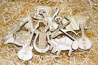 Hudobné nástroje - Sada vianočných ozdob pre muzikantov - 10128717_