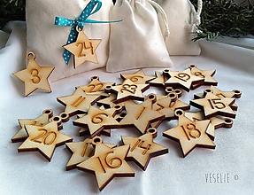 Dekorácie - Hviezdičky na adventný kalendár s očkom - 10128206_
