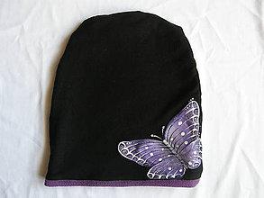 Detské čiapky - Zimná čiapka s motýľom - 10129997_
