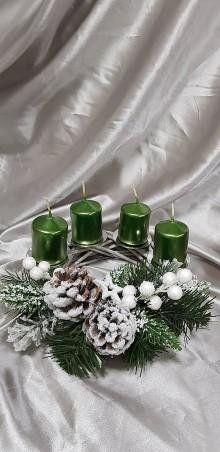 Dekorácie - Sivo zelený adventný veniec 20 cm - 10128588_
