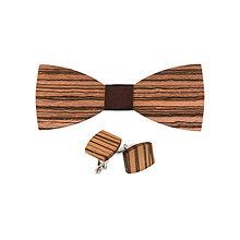 Doplnky - Drevený motýlik a manžetové gombíky - Zebrano - 10129635_