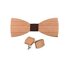 Doplnky - Drevený motýlik a manžetové gombíky - Eucalyptus - 10129649_