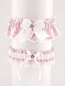 Bielizeň/Plavky - podväzok růžový saténový s čipkou pre nevestu 044 - 10131484_