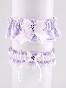 Bielizeň/Plavky - podväzok fialový saténový s čipkou pre nevestu 0441 - 10131528_