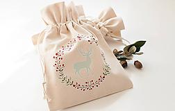 - Šité vrecko z ľanového plátna (Jelenček) - 10129675_
