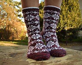 Obuv - fialové ponožky s nórskym vzorom ( v.38-39) - 10130038_