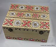 Krabičky - truhlica Ľudová v červeno bielom - 10130154_