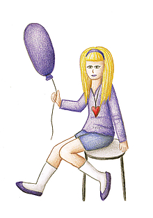 Obrazy - Kreslené dievča s balónom 3 - 10132049_