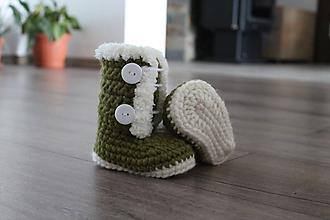 Topánočky - Topánočky z ovčej vlny (Zelená) - 10136440_