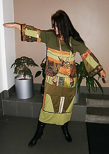 Šaty - lel,hippie do zelena-maxišaty+ kapsa - 10134355_
