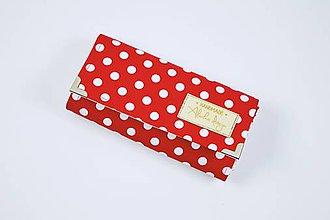 Peňaženky - Peňaženka červená s bielymi guľkami - 10136170_