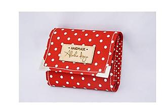 Peňaženky - Peňaženka malá červená s guľkami - 10136662_
