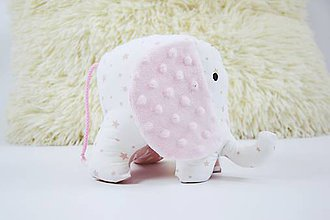 Hračky - Mäkučký sloník ružové hviezdičky - 10136781_