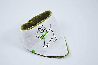 Detské doplnky - Nákrčník zelený psík s wellsoftom - 10136793_