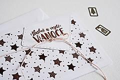 Papiernictvo - Vianočný minimalistický pozdrav - hviezdičky - 10135099_