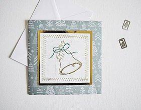 Papiernictvo - Vyšívaný vianočný pozdrav - zvonček - 10135128_