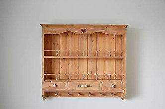 Nábytok - Vintage polica Neverending story 3 B (Staré drevo/biela patina) - 10136769_