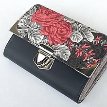 Peňaženky - Růže na černé - peněženka - 10136847_
