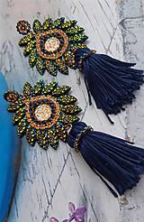 Náušnice - luxusné zlatomodré so strapcom - 10135066_