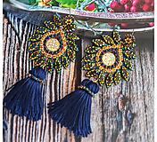 Náušnice - luxusné zlatomodré so strapcom - 10135077_