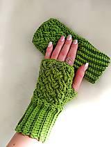 Rukavice - Zelené bezprstové rukavice - 10134538_