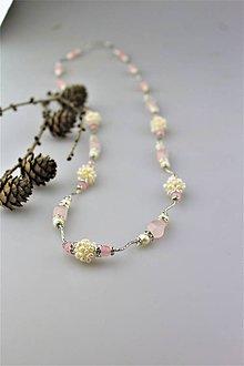 Náhrdelníky - pravé perly a ruženín náhrdelník luxusný - 10134040_