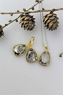 Sady šperkov - achát striebro-sivý náušnice a prívesok, luxusný set - 10135760_
