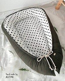 Textil - Hniezdo pre bábätko z vafle bavlny v khaki farbe - 10133028_