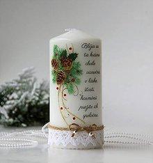 Svietidlá a sviečky - Vianočná dekoračná sviečka - 10136282_