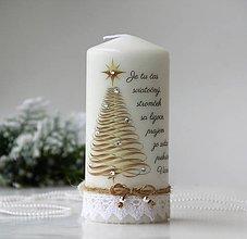 Svietidlá a sviečky - Vianočná dekoračná sviečka - 10136291_