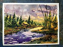 Akvarelový obraz - Pri západe slnka