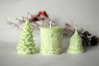 Svietidlá a sviečky - Sada vianočných sviec  (Jabĺčkovo zelená) - 10134928_