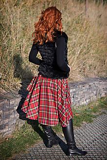 Sukne - asymetrická zavinovacia sukňa (červené káro) - 10133935_