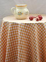 Úžitkový textil - Obrus. Žltý kockovaný kanafasový - stará klasika - 10134469_