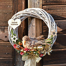 Dekorácie - Zimný veniec s vtáčikom - 10133700_