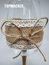 Nádoby - Svadobný jutový pohár - víno - 10134252_