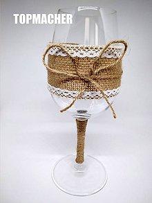 Nádoby - Svadobný jutový pohár - víno - 10134241_