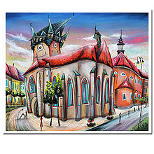 Grafika - Západ slnka nad Prešovom / reprodukcia - 10134864_