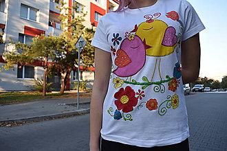 Tričká - Veselé vtáčiky na tričku - 10132976_