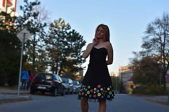 Šaty - Nežné spoločenské šaty veľkosť S ručne maľované - 10133440_