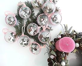 Dekorácie - Vianočné gule 4 ks staroružová - 10136550_