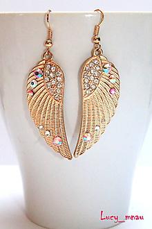 Náušnice - Anjelské krídla jemno zlato-ružové :) - 10135256_