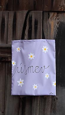 Nákupné tašky - Plátená taška ručne maľovaná- úsmev - 10133446_