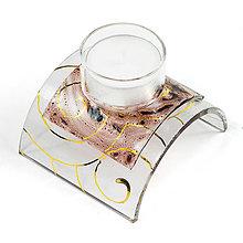 Svietidlá a sviečky - sklenený svietnik na čajovú sviečku hnedý 02 - 10135425_