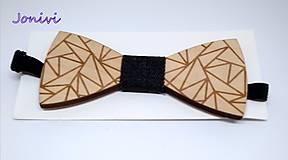 Doplnky - Pánsky drevený motýlik - jeans - rifľový - 10136068_