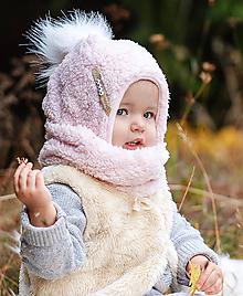 Detské súpravy - Zimný set ovečka pink - 10136528_