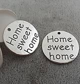 Komponenty - Prívesok s nápisom HOME SWEET HOME - 10134172_