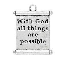 Komponenty - Prívesok s nápisom WITH GOD ALL THINGS ARE POSSIBLE - 10134413_