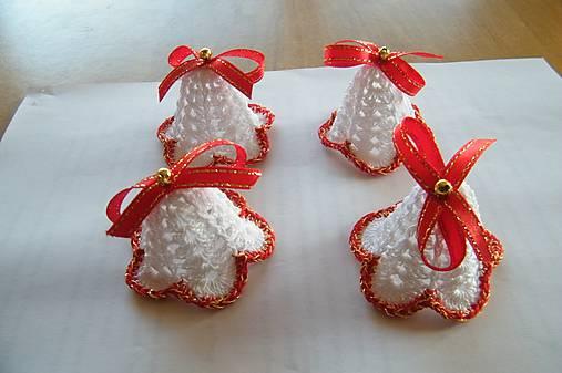 Zvončeky háčkované bielo-červeno-zlaté