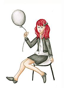 Kresby - Kreslené dievča s balónom - 10132445_